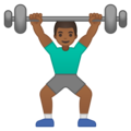 Man Lifting Weights: Medium-Dark Skin Tone on Google Android 10.0