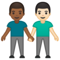 Men Holding Hands: Medium-Dark Skin Tone, Light Skin Tone on Google Android 10.0