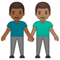 Men Holding Hands: Medium-Dark Skin Tone, Medium Skin Tone on Google Android 10.0