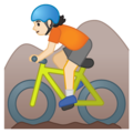 Person Mountain Biking: Light Skin Tone on Google Android 10.0