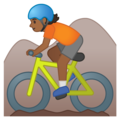 Person Mountain Biking: Medium-Dark Skin Tone on Google Android 10.0