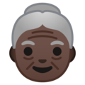 Old Woman: Dark Skin Tone on Google Android 10.0
