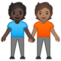 People Holding Hands: Dark Skin Tone, Medium Skin Tone on Google Android 10.0
