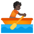 Person Rowing Boat: Dark Skin Tone on Google Android 10.0