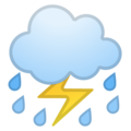 Cloud with Lightning and Rain on Google Android 10.0