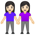 Women Holding Hands: Light Skin Tone on Google Android 10.0