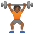 Person Lifting Weights: Medium-Dark Skin Tone on Google Android 10.0