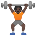 Person Lifting Weights: Dark Skin Tone on Google Android 10.0