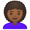 Woman: Medium-Dark Skin Tone, Curly Hair on Google Android 10.0