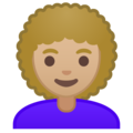 Woman: Medium-Light Skin Tone, Curly Hair on Google Android 10.0