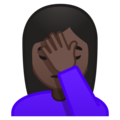 Woman Facepalming: Dark Skin Tone on Google Android 10.0