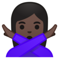 Woman Gesturing No: Dark Skin Tone on Google Android 10.0