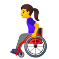 Woman in Manual Wheelchair on Google Android 10.0