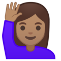 Woman Raising Hand: Medium Skin Tone on Google Android 10.0