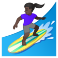 Woman Surfing: Dark Skin Tone on Google Android 10.0