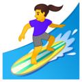 Woman Surfing on Google Android 10.0