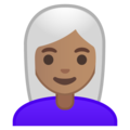 Woman: Medium Skin Tone, White Hair on Google Android 10.0