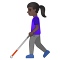 Woman With Probing Cane: Dark Skin Tone on Google Android 10.0