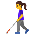 Woman with Probing Cane on Google Android 10.0