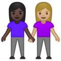 Women Holding Hands: Dark Skin Tone, Medium-Light Skin Tone on Google Android 10.0