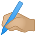 Writing Hand: Medium-Light Skin Tone on Google Android 10.0