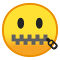 Zipper-Mouth Face on Google Android 10.0