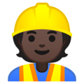 Construction Worker: Dark Skin Tone on Google Android 10.0 March 2020 Feature Drop