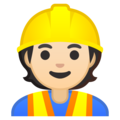 Construction Worker: Light Skin Tone on Google Android 10.0 March 2020 Feature Drop