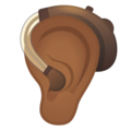 Ear with Hearing Aid: Medium-Dark Skin Tone on Google Android 10.0 March 2020 Feature Drop
