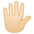 Hand with Fingers Splayed: Light Skin Tone on Google Android 10.0 March 2020 Feature Drop