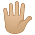 Hand with Fingers Splayed: Medium-Light Skin Tone on Google Android 10.0 March 2020 Feature Drop
