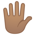 Hand with Fingers Splayed: Medium Skin Tone on Google Android 10.0 March 2020 Feature Drop