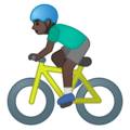 Man Biking: Dark Skin Tone on Google Android 10.0 March 2020 Feature Drop