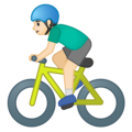 Man Biking: Light Skin Tone on Google Android 10.0 March 2020 Feature Drop