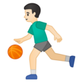 Man Bouncing Ball: Light Skin Tone on Google Android 10.0 March 2020 Feature Drop