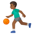 Man Bouncing Ball: Medium-Dark Skin Tone on Google Android 10.0 March 2020 Feature Drop
