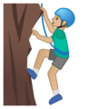 Man Climbing: Medium-Light Skin Tone on Google Android 10.0 March 2020 Feature Drop