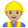 Man Construction Worker: Medium-Light Skin Tone on Google Android 10.0 March 2020 Feature Drop