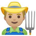 Man Farmer: Medium-Light Skin Tone on Google Android 10.0 March 2020 Feature Drop