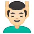 Man Getting Massage: Light Skin Tone on Google Android 10.0 March 2020 Feature Drop