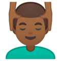 Man Getting Massage: Medium-Dark Skin Tone on Google Android 10.0 March 2020 Feature Drop
