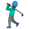 Man Golfing: Dark Skin Tone on Google Android 10.0 March 2020 Feature Drop