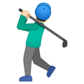 Man Golfing: Light Skin Tone on Google Android 10.0 March 2020 Feature Drop