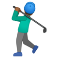 Man Golfing: Medium-Dark Skin Tone on Google Android 10.0 March 2020 Feature Drop