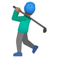Man Golfing: Medium Skin Tone on Google Android 10.0 March 2020 Feature Drop
