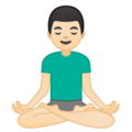 Man in Lotus Position: Light Skin Tone on Google Android 10.0 March 2020 Feature Drop