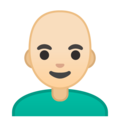Man: Light Skin Tone, Bald on Google Android 10.0 March 2020 Feature Drop