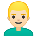 Man: Light Skin Tone, Blond Hair on Google Android 10.0 March 2020 Feature Drop