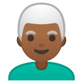 Man: Medium-Dark Skin Tone, White Hair on Google Android 10.0 March 2020 Feature Drop