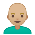 Man: Medium-Light Skin Tone, Bald on Google Android 10.0 March 2020 Feature Drop